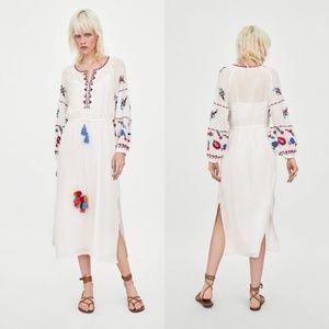 Zara Colorful Embroidered Tunic Dress Pom Pom Tass
